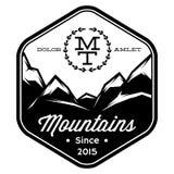 Le modèle monochrome de vecteur de la montagne complète des lignes Photographie stock libre de droits