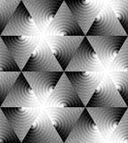 Le modèle monochrome sans couture de triangle des vagues en expansion intersectent au centre Effet optique de volume Photos libres de droits