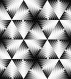 Le modèle monochrome sans couture de triangle des vagues en expansion intersectent au centre Effet optique de volume Illustration Stock