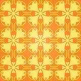Le modèle orange abstrait sans couture avec la forme de coeur fleurit Photos libres de droits
