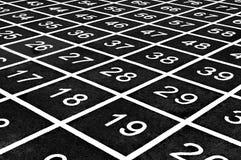 Le modèle répétitif des nombres sur un terrain de jeu créent une illusion optique images stock