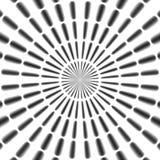 Le modèle radial noir et blanc régulier de rayons a rendu sans couture Photographie stock