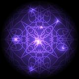 Modèle rond violet avec des lumières Image libre de droits