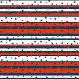 Le modèle sans couture avec des étoiles sur des rayures dans des couleurs bleues, rouges et blanches a stylisé au drapeau américa Photographie stock
