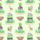 Le modèle sans couture avec des oeufs d'oiseau de Pâques d'aquarelle, nids, crocus fleurit dans les pots et les oiseaux mignons Photos stock