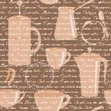 Le modèle sans couture avec du café dactylographie le texte Images stock
