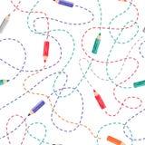 Le modèle sans couture avec l'aquarelle colorée crayonne sur le blanc illustration stock