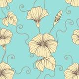 Le modèle sans couture avec l'aspiration de main fleurit, floral illustration libre de droits