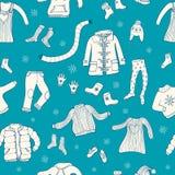Le modèle sans couture avec l'hiver vêtx le motif illustration stock