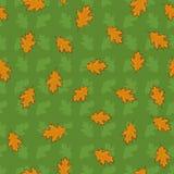 Le modèle sans couture avec l'orange tirée par la main part sur le fond vert Image stock
