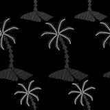 Le modèle sans couture avec la broderie de palmier pique l'imitation Photo stock