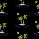 Le modèle sans couture avec la broderie pique les WI d'imitation de palmier Photographie stock libre de droits