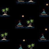 Le modèle sans couture avec la broderie pique les WI d'imitation de palmier Photos libres de droits