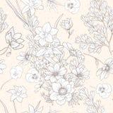 Le modèle sans couture avec le pavot fleurit, des jonquilles, anémones, violettes Photos stock