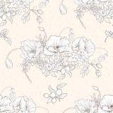 Le modèle sans couture avec le pavot fleurit, des jonquilles, anémones, violettes illustration stock