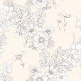 Le modèle sans couture avec le pavot fleurit, des jonquilles, anémones, violettes illustration de vecteur
