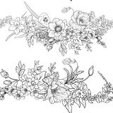 Le modèle sans couture avec le pavot fleurit la jonquille, anémone, violette dedans Image stock