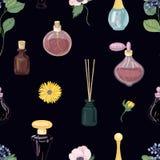 Le modèle sans couture avec les parfums aromatiques dans des bouteilles ou des flacons décoratifs en verre, floraison élégante fl Images libres de droits
