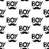 Le modèle sans couture avec le noir exprime le garçon et la moustache illustration de vecteur