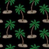 Le modèle sans couture avec peu de broderie de palmier pique l'imita Image libre de droits