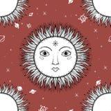 Le modèle sans couture beau Sun d'illustration graphique de croquis font face avec des symboles tirés par la main mystiques et oc illustration de vecteur