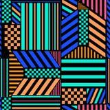 Le modèle sans couture coloré contrasté avec les blocs audacieux de rayure se mélangent au dessin géométrique à la mode d'élément illustration libre de droits