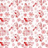 Le modèle sans couture d'hiver avec les oiseaux mignons de griffonnage sur la sorbe s'embranche illustration de vecteur