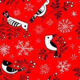 Le modèle sans couture d'hiver avec les oiseaux mignons de griffonnage sur la sorbe s'embranche illustration libre de droits