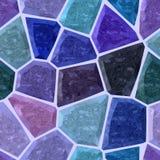 Le modèle sans couture de bleu et de marbre de mosaïque pierreuse irrégulière de pourpre, donnent au fond une consistance rugueus Image stock