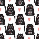 Le modèle sans couture de chat avec le texte maintiennent l'amour dans votre coeur dans le geomet illustration stock