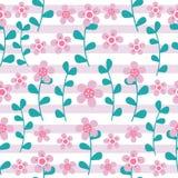 Le modèle sans couture de fleurs roses et de feuilles cyan sur le fond rayé conçoivent pour le fond de vêtements de tissu illustration libre de droits