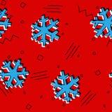 Le modèle sans couture de flocons de neige de Noël avec Memphis a dénommé des étoiles de neige pour des ornements de vacances, ca illustration libre de droits