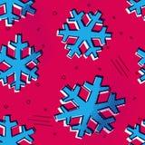 Le modèle sans couture de flocons de neige de Noël avec Memphis a dénommé la neige pour des ornements de vacances, saluant des co illustration libre de droits