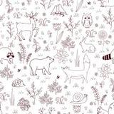 Le modèle sans couture de forêt avec l'ours mignon, renard, hérisson, oiseaux, abeilles, papillons, champignons, hibou, escargot, illustration stock
