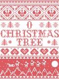 Le modèle sans couture de hymne de louange d'arbre de Noël du modèle O de Noël a inspiré par l'hiver de fête de culture nordique  illustration libre de droits