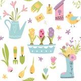 Le modèle sans couture de jardinage avec les outils de jardin tirés par la main mignons d'éléments jaillissent fond dans le vecte illustration libre de droits