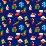 Le modèle sans couture de Joyeux Noël, a placé des icônes sur le fond bleu illustration libre de droits
