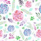 Le modèle sans couture de l'abrégé sur watecolor s'embranche, des feuilles et des fleurs Photo libre de droits