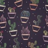 Le modèle sans couture de la craie colorée a peint différents cactus dans des pots Plante le thème Photo stock