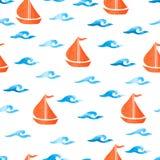Le modèle sans couture de mer avec l'aquarelle ondule des bateaux d'american national standard Photographie stock