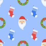 Le modèle sans couture de Noël avec la guirlande, les chaussettes et la Santa Claus font face illustration libre de droits