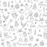 Le modèle sans couture de Noël gribouille le croquis illustration stock