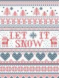 Le modèle sans couture de Noël l'a laissé neiger style scandinave, inspiré par Noël norvégien, hiver de fête dans le point croisé photos libres de droits