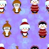 Le modèle sans couture de pingouins vêtx Noël Image stock
