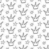 Le modèle sans couture de princesse de conte de fées avec le griffonnage tiré par la main couronne illustration stock