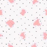 Le modèle sans couture de répétition avec des formes géométriques rougissent dedans texture rose et noire de points sur le fond b Photo stock