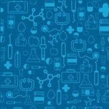 Le modèle sans couture de soins de santé de médecine avec la pharmacie d'ensemble signe inclure des pilules, vitamines L'illustra Image libre de droits
