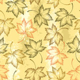 Le modèle sans couture de vecteur avec l'érable pointillé part sur le fond orange Éléments floraux d'automne dans le style de dot Photographie stock