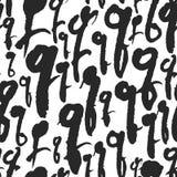 Le modèle sans couture de vecteur avec la calligraphie marque avec des lettres Q Photo stock