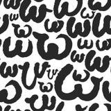 Le modèle sans couture de vecteur avec la calligraphie marque avec des lettres W Photographie stock